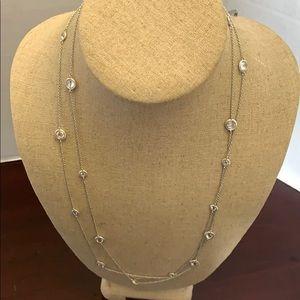 Nadri Cubic Zirconia Bezel  Necklace silver tone